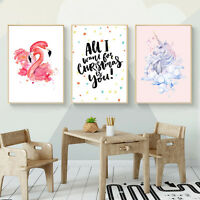 Watercolor Flamingo Unicorn Canvas Art Poster Prints Kids Room Decoration