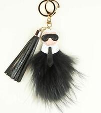 Fashion Key Chain Ring Black & Gold Bag Charm Karlito Monster Karl Doll Pom Fur