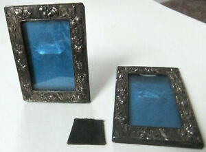 RARE, ANTIQUE PAIR OF MATCHING SMALL PHOTO FRAMES WITH FLORAL PATTERN, STANDING