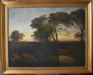 Large Pastoral Landscape, Farmstead at Sunset English School Oil Painting c1900
