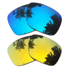 2 Pair Ice Blue&24K Gold Mirror Replacement Lenses for-Oakley Holbrook Polarized