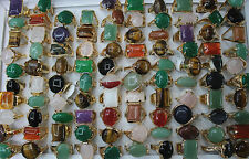 Wholesale lots 15pcs Nature stone gold plated Multicolor Big Women Top ring L154