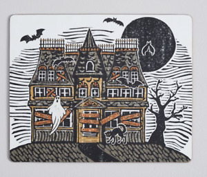 Pottery Barn Halloween Haunted House Cork Placemats Set of 4 New In Box