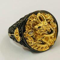 Chinese Dragon Geschnitzte Männer 18K Schwarz Gold Ring Überzogener Partei D1M8
