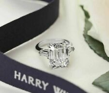 Ring In 14k White Gold Finish 6.25Ct Emerald Cut Diamond Three Stone Engagement