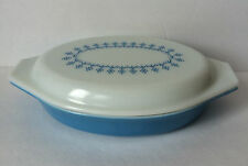 Vintage PYREX SNOWFLAKE GARLAND 1 Qt Covered DIVIDED OVAL CASSEROLE Milk Glass