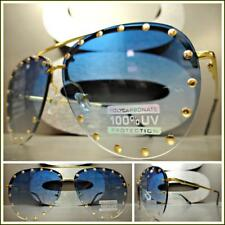 New Oversized Vintage Retro Style SUN GLASSES Gold Studded Frame Blue Clear Lens