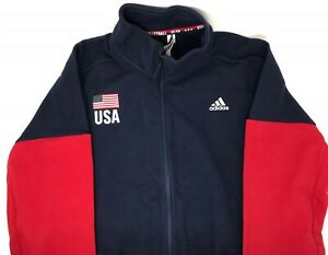 Adidas Men's USA Flag Volleyball Warm-up Jacket Navy/Red Size: XLT - NWT