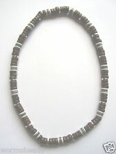Dark brown coco wood, silver & striped bead 16 inch stretch choker surf necklace
