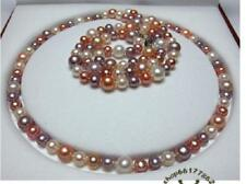 """54""""7-13mm natural south sea genuine white gold pink purple round pearl necklace"""