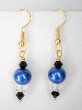 Deep blue 8mm glass pearl clear and black glass bead 4cm gold tone drop earrings