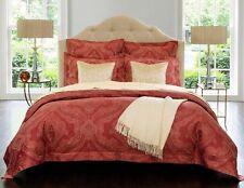 Sferra Miretta King Duvet Cover Cayenne Red Egyptian Cotton Sateen Jacquard New