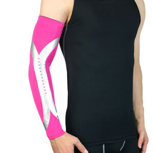 Men Silver Stripe Arm Sleeve Basketball Running Sports UV Sun Protection Gear