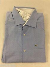 Lacoste Men's Shirt Slim Fit Long Sleeve Fjord Blue Square Dots EU 42 US L
