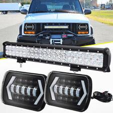 "20"" LED Light Bar + 7X6"" LED Headlight Halo DRL For Jeep Cherokee XJ Wrangler YJ"