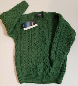 NWT Aran Kids Merino Wool Irish Green Merino Wool Crew Neck Knit Sweater! Size L