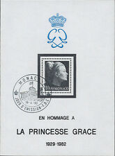 """MC83 MONACO Bloc de deuil """"Hommage à la Princesse Grace de Monaco"""" 1983 1er JOUR"""