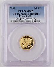 "2004 China 50 Yuan 1/10 Troy Oz 999 Gold Panda Coin PCGS MS69 GEM ""Better Date"""