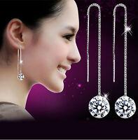 925 Silver Plated Earrings Ear Wire Crystal Fashion Dangle Earring Gift Women