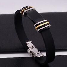 """Unisex Men Women's Stainless Steel Rubber Silicone Bracelet 8.5"""" G12"""