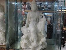 Chinese  White Jade Stone carved Ruyi Kwan-Yin GuanYin Bodhisattva Buddha Statue