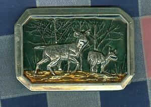 xx1. Belt Buckle Great American Buckle Co Two Deer Trees  3 1/4  Inches Wide