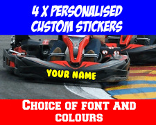 4x Personalised Go Kart Stickers fit TKM Rotax Tony etc  Lots of Fonts & Colours