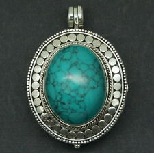 z Designer Turquoise Box Pendant in solid 925 Sterling Silver (New)