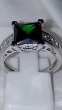 925 STERLING SILVER ENGAGEMENT EMERALD/ SAPPHIRE DRESS ENGAGEMENT RING  UK 6