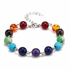 7 Chakra Healing Beaded Bracelet Natural Lava Stone Diffuser Silver Jewelry Gift