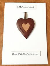 3rd Wedding Anniversary Card Leather Heart Gift Husband Wife Personalised