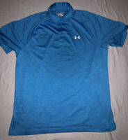 Under Armour Heat Gear Loose Large Light Blue Polo Golf Shirt See Pictures