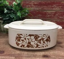 "Lenox Oval Covered Casserole Dish Temper-Ware  Woodspice Pattern 10"" Made in USA"