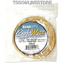 21GA Beadsmith Twisted Square Gold Color Non Tarnish Wire 15ft