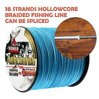 Ashconfish Braided Fishing Line-16 Strands Hollow Core Fish Wire 1000M 20-500LB