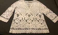 CHICOS WOMENS WHITE LACE TOP SHIRT SZ 0 V Neck 3/4 Sleeve See Through