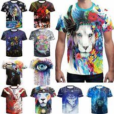 Men 3D Printed Art lion Painting funny T-shirt Soft cotton Short Sleeve Tee Top