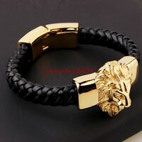 Men's Black Genuine Leather Bracelet Gold Plate Stainless Steel Animal Lion Head