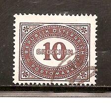 Austria Stamps-Scott # J209/D1-10kr-Canc/Lh-1947 -Postage Due-Og