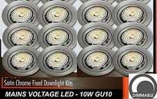 12 x DIMMABLE LED Fixed Downlight Kits Satin Chrome 10W 600Lm 240V GU10 Warm