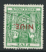 More details for niue 1951 sg84w 5/- of nz overprinted watermark 98 inverted - fine used. cat £26