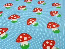 Stoff Baumwolle Jersey Pilze Pünktchen hellblau türkis rot grün weiß Kinderstoff