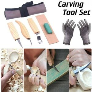 6pcs Woodworking Wood Carving Kit Hand Chisel with Grey Bag and Anti-cut Gloves