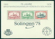 GERMANY 1978 S/S SOLINGEN GERMAN COLONIES DOA SHIPS HOHENZOLLERN m2000