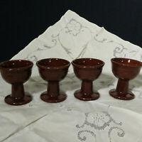 Set of 4 Vintage Ceramic Ice Cream Dishes Brown Pedestal Dansk?