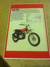 Vintage Honda Xr75 Dirtbike Motorcycle Poster Advertisement Man Cave Gift