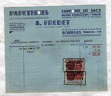 """BOURGES (18) USINE PAPETERIE / SACS & PAPIERS d'EMBALLAGE """"A. FREDET"""" en 1939"""