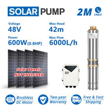 4 Dc Deep Bore Well Solar Water Pump 48v 600w Submersible Mppt Controller Kit