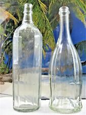 OLD EMBOSSED 12 PANEL ONE QUART AND VERTICAL LINED LIQUOR  BOTTLES
