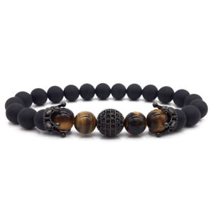 New Fashion Brand Double Crown High Quality Ball Men Charm Bracelets Stone Bead